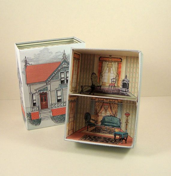 Victorian House Printable Match Box .pdf por PaperCottagePrinties