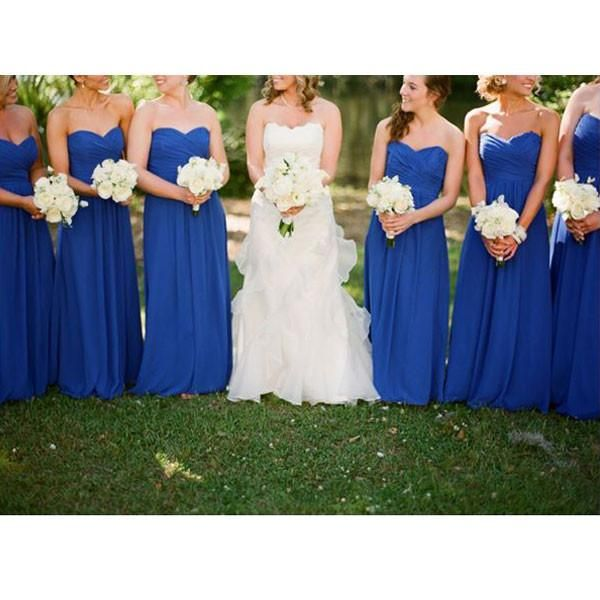 Jeanne Love Royal Sweetheart A Line Wedding Dresses 2019: A-line Royal Blue Chiffon Floor-length Long Wedding Party