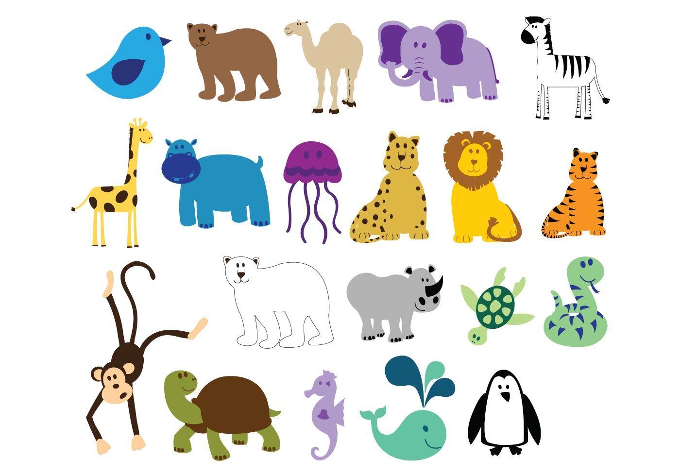 Free Colorful Animals Cute Animal Clipart Cartoon Zoo Animals Animal Clipart