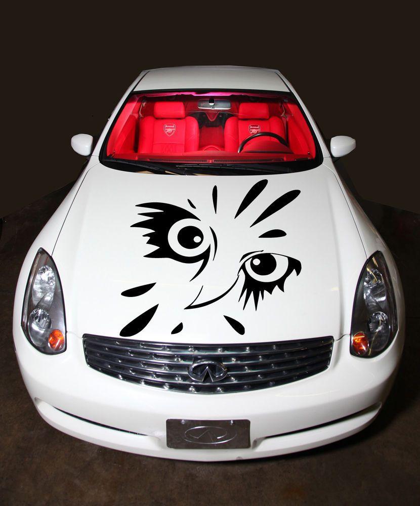 HOOD VINYL STICKER DECALS MURAL TRIBAL TATTOO CAR FLAMING OWL EYES - Owl custom vinyl decals for car