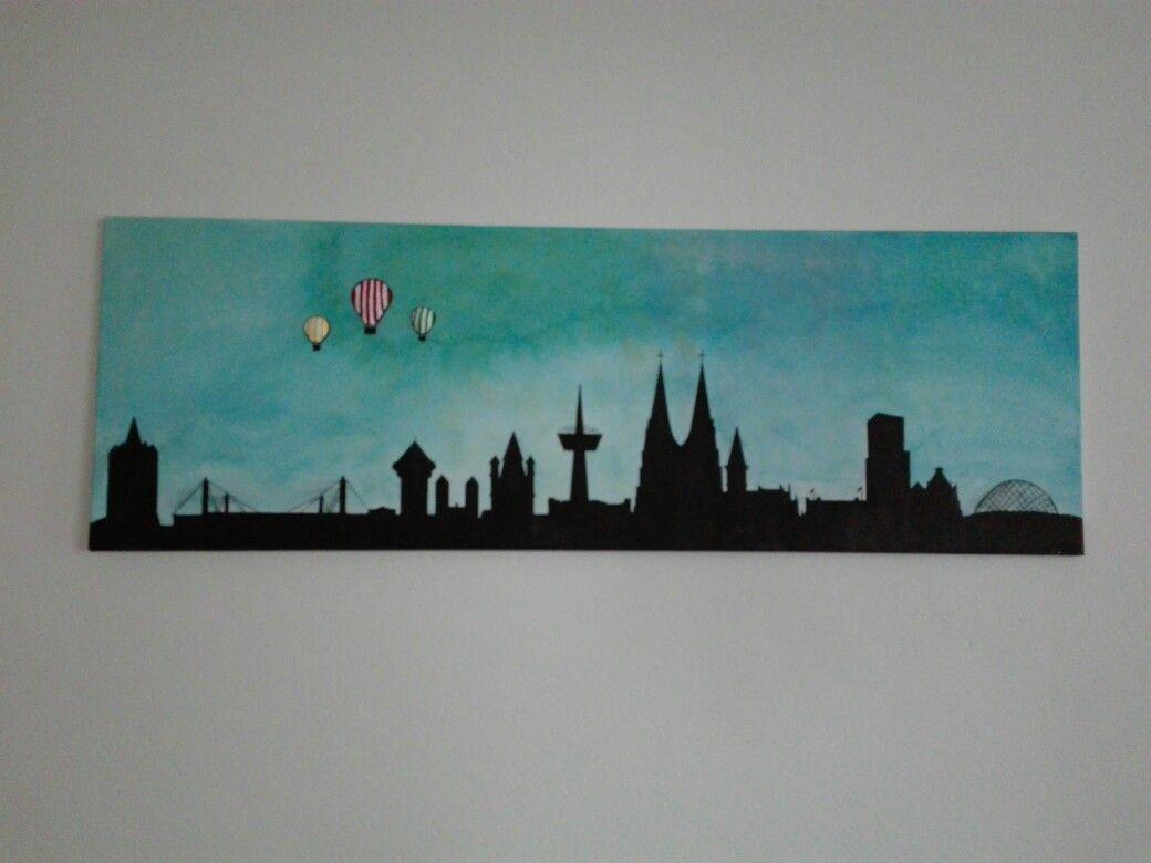 Kolner Skyline Auf Leinwand Gemalt Leinwand Malen Acryl Leinwand Leinwand