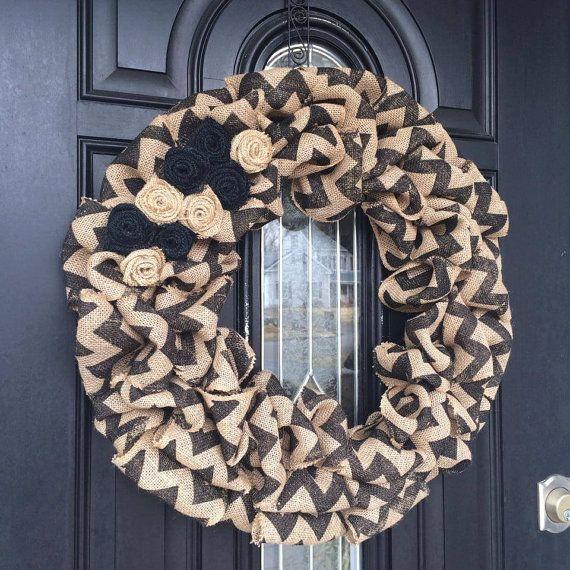 Ruffled Black Chevron Wreath with Burlap Flowers