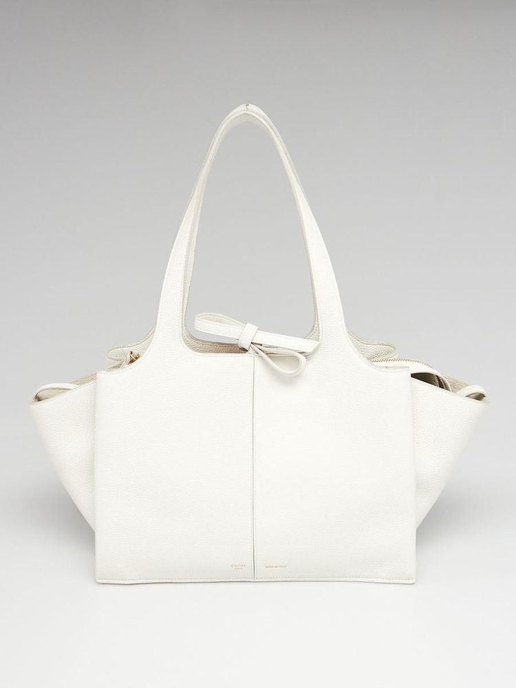 4b01cbef48e4 Celine White Grained Leather Small -Tri-Fold Shoulder Bag  Celine   EverydayBags