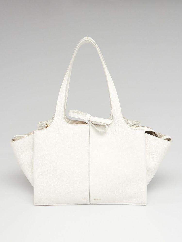 Celine White Grained Leather Small -Tri-Fold Shoulder Bag  Celine   EverydayBags 245e5e23095f2