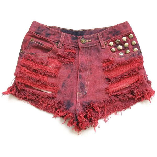 Cherry red high waisted denim shorts XS ($6) ❤ liked on Polyvore ...