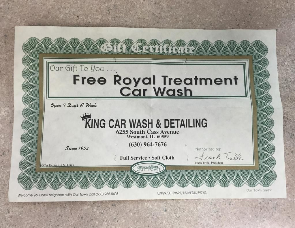 King Car Wash sent us this certificate from 1997! Before tracking was offered. #keepsake #loyalty #18yearsponsor