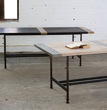 Luxury Adjustable Breadboard Table with Metalized Planks Model - Awesome telescoping table legs