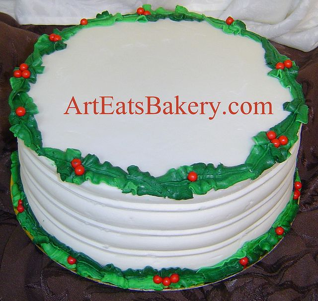 Holly leaf and red berries christmas party cake