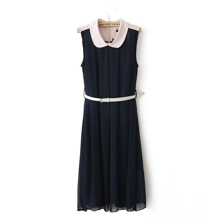 Lins 欧美 2013年春夏新款复古风淑女翻领收腰连衣裙 送腰带-淘宝网