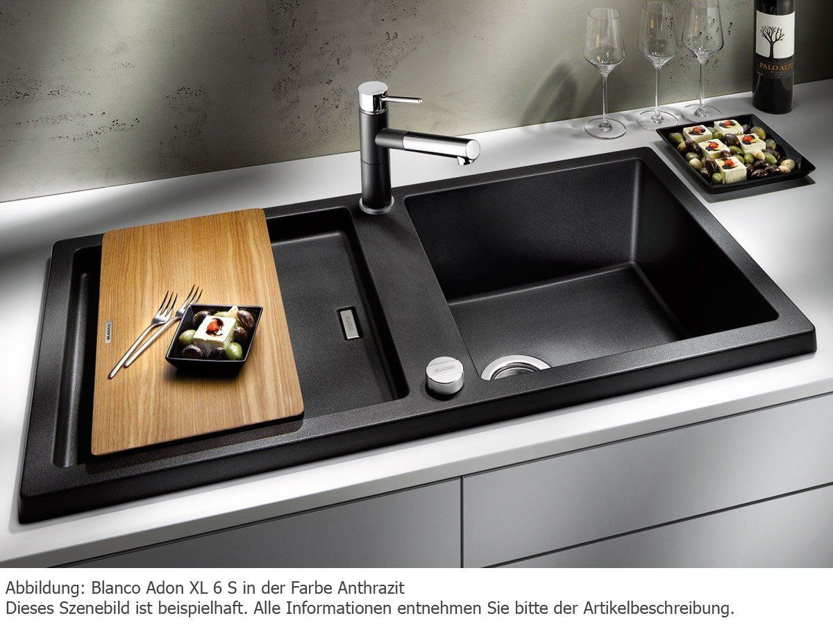 Küchenarmatur Anthrazit ~ Blanco adon xl 6 s alumetallic granit spüle grau küchenspüle