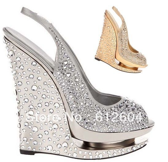 Bling Silver Gold Wedge Wedding Shoes 547x527