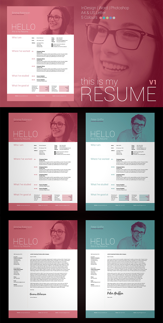Photoshop Resume Template Word  Photoshop  Indesign Resume & Cover Letter Template