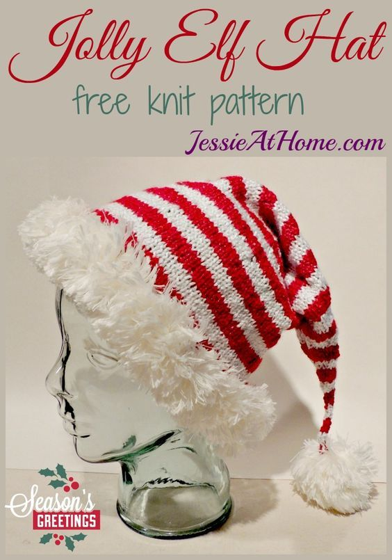 Jolly Elf Hat - free knit pattern from Jessie At Home:   moldes para ...