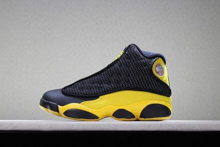 76e6aa0a2e22 Kids Air Jordan 13 Melo PE Black Yellow Basketball Shoes