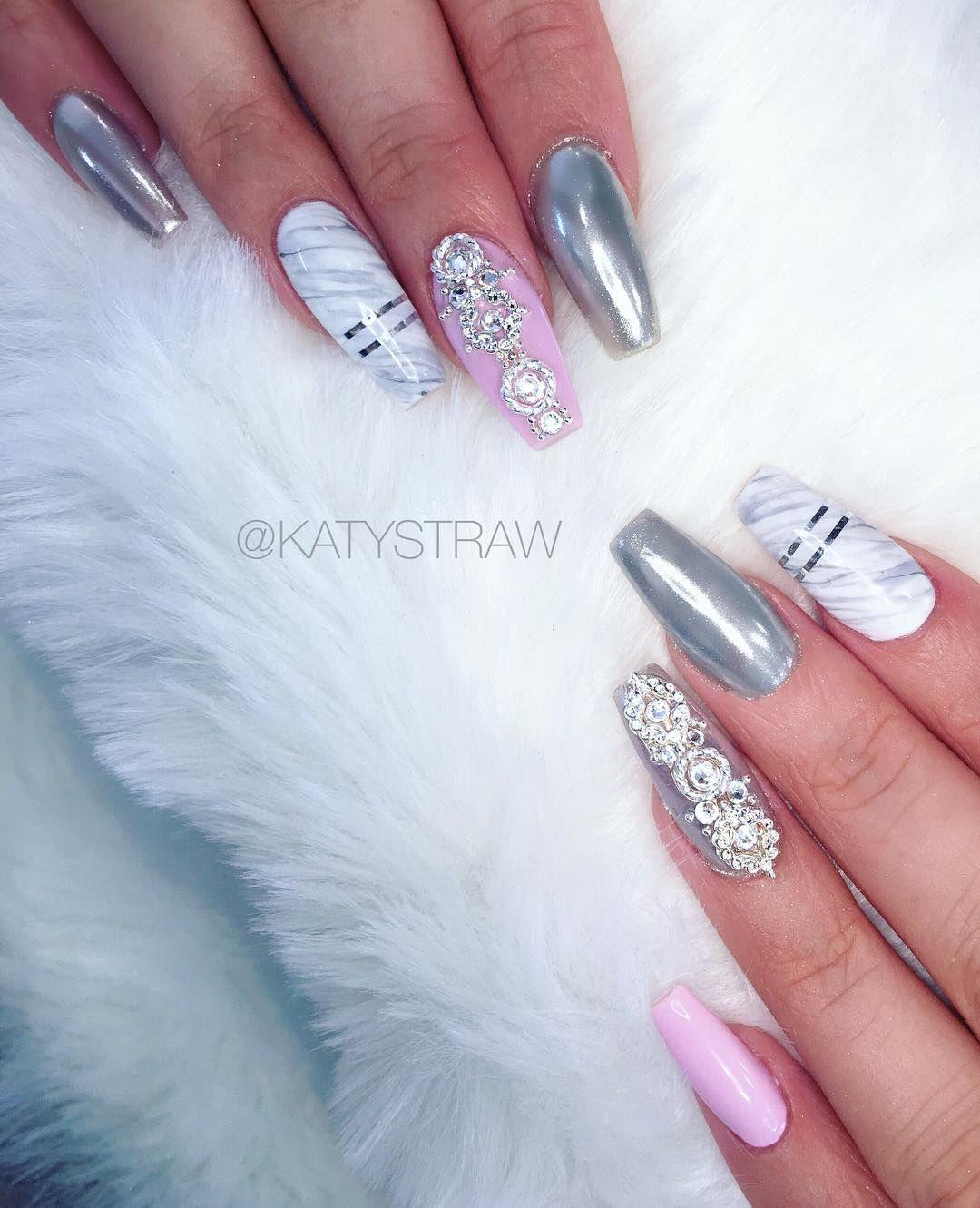 Chrome marble crystal acrylic nails on @lucxsmith Swarovski crystals ...
