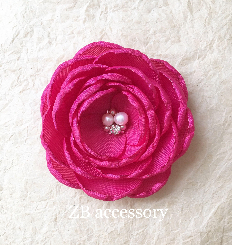 Cerise Pink Fabric Flower Hot Pink Hair Flowers Bridesmaid Hair Clip