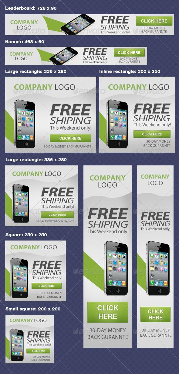 Multiple Google AdWords Banners #GraphicRiver PSD Files Banner: 468
