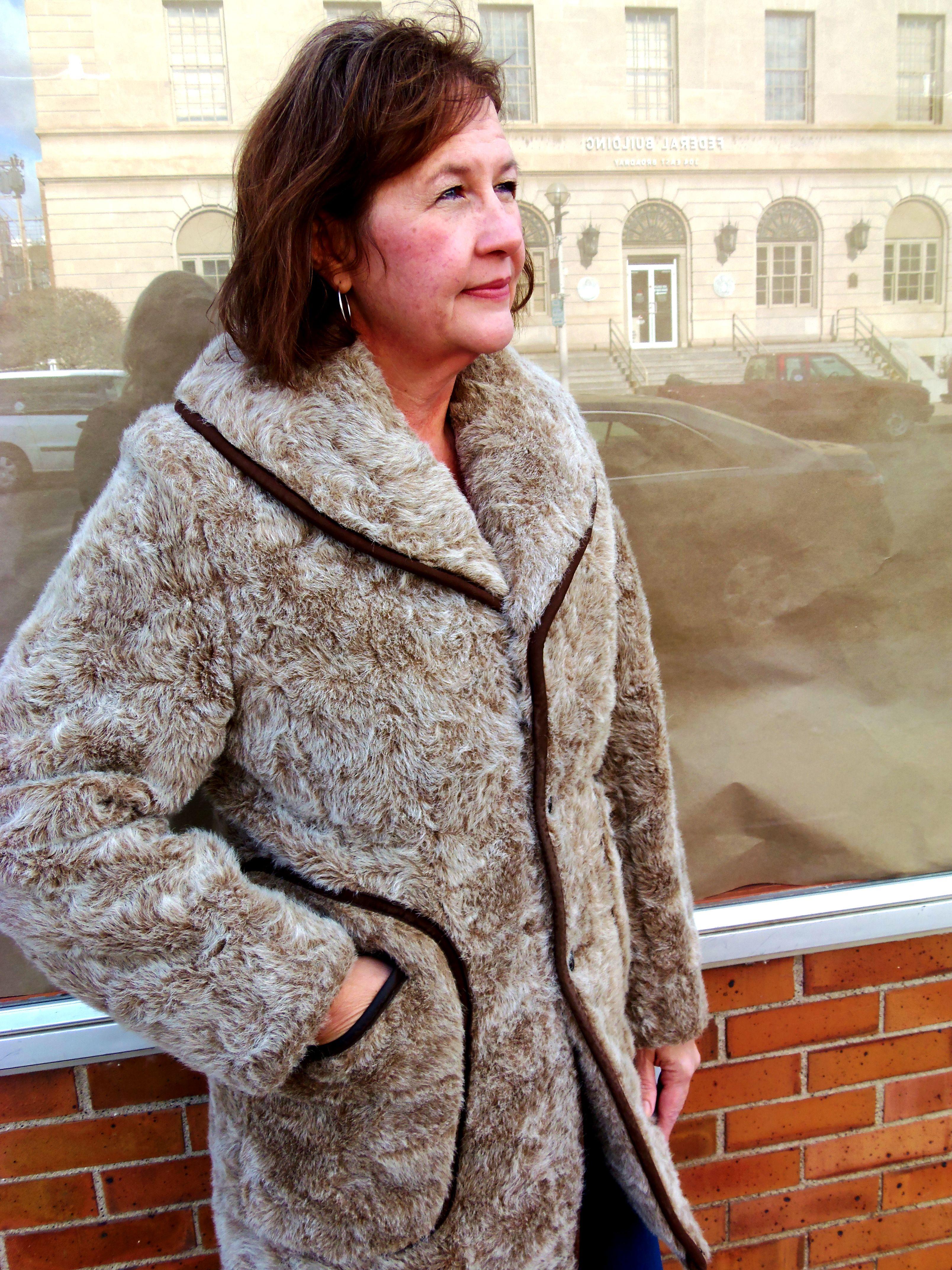 Faux-fur brown coat