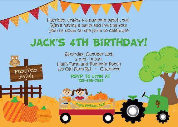pumpkin patch birthday party invitation farm birthday invitation