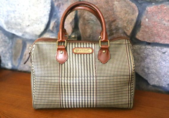 HEARTBURN VINTAGE     Vintage Polo Ralph Lauren Plaid Houndstooth Doctor Bag  Satchel d0665e00c816e