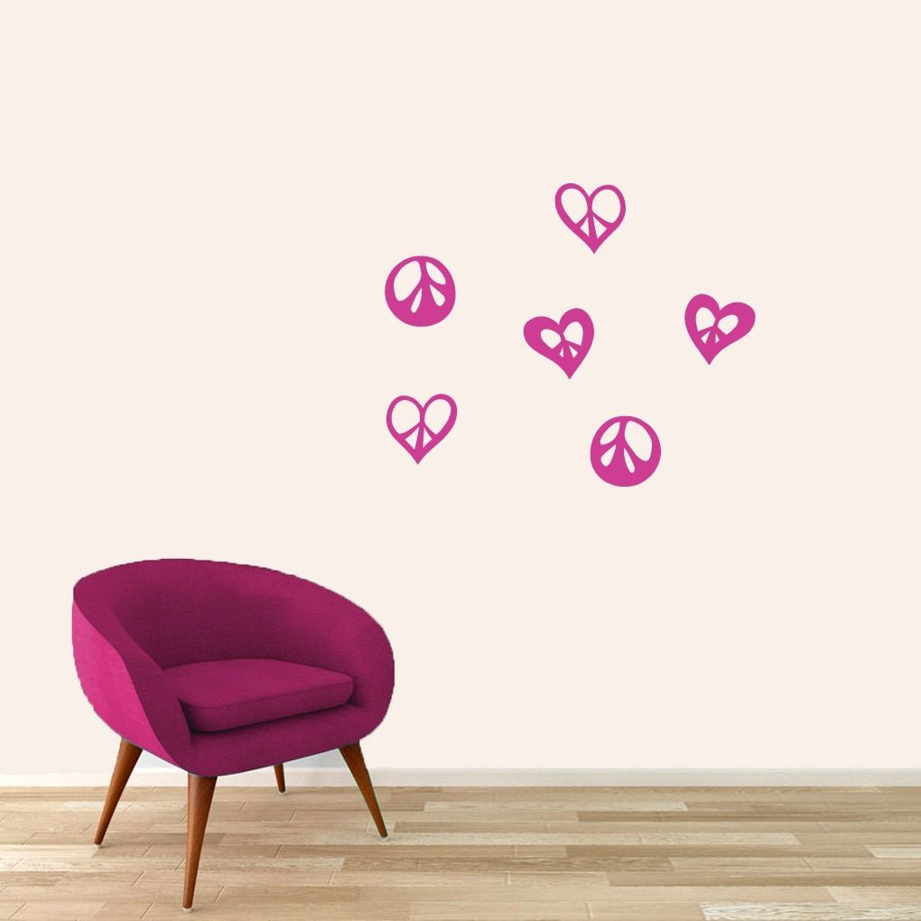 Sweetums small peace signs and hearts set wall decal teal blue
