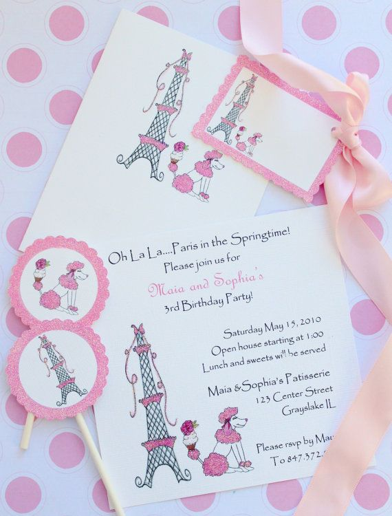 Eiffel Tower And French PoodleBirthday Invitations By Icingdesigns - Invitation in french to birthday party