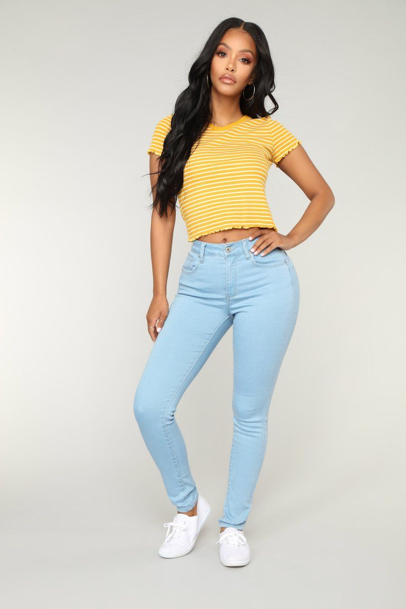 ddf3e4f43f5b Who Needs You Crop Top - Yellow/combo   Melissa Style in 2019 ...
