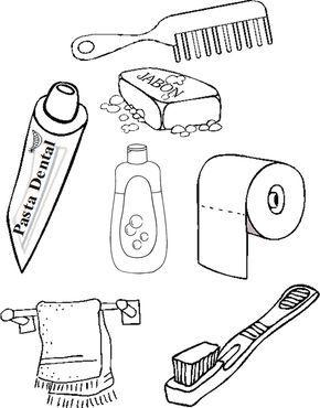 Utiles De Aseo Para Colorear Habitos De Higiene Personal Utiles