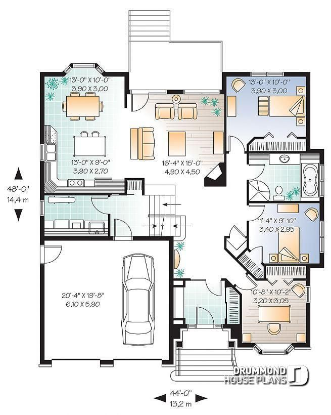 1st Level House Plan With Large Master Suite Split Bedrooms Floor