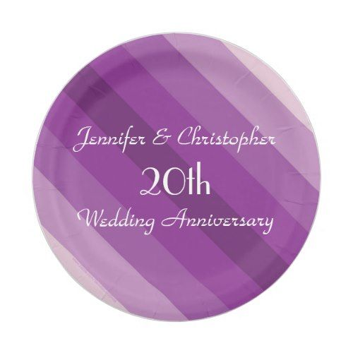 Purple Striped Plates 20th Wedding Anniversary Paper Plate  sc 1 st  Pinterest & Purple Striped Plates 20th Wedding Anniversary Paper Plate   20 ...
