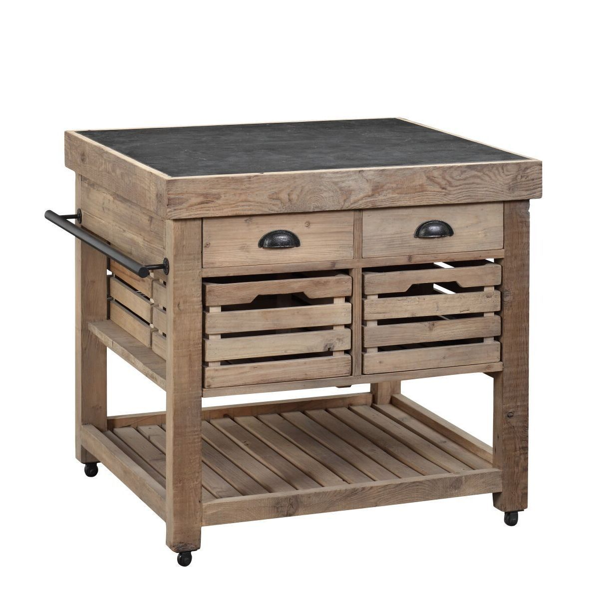 Home Designs Sorento Reclaimed Wood And Soapstone Kitchen Cart  # Muebles Sorento