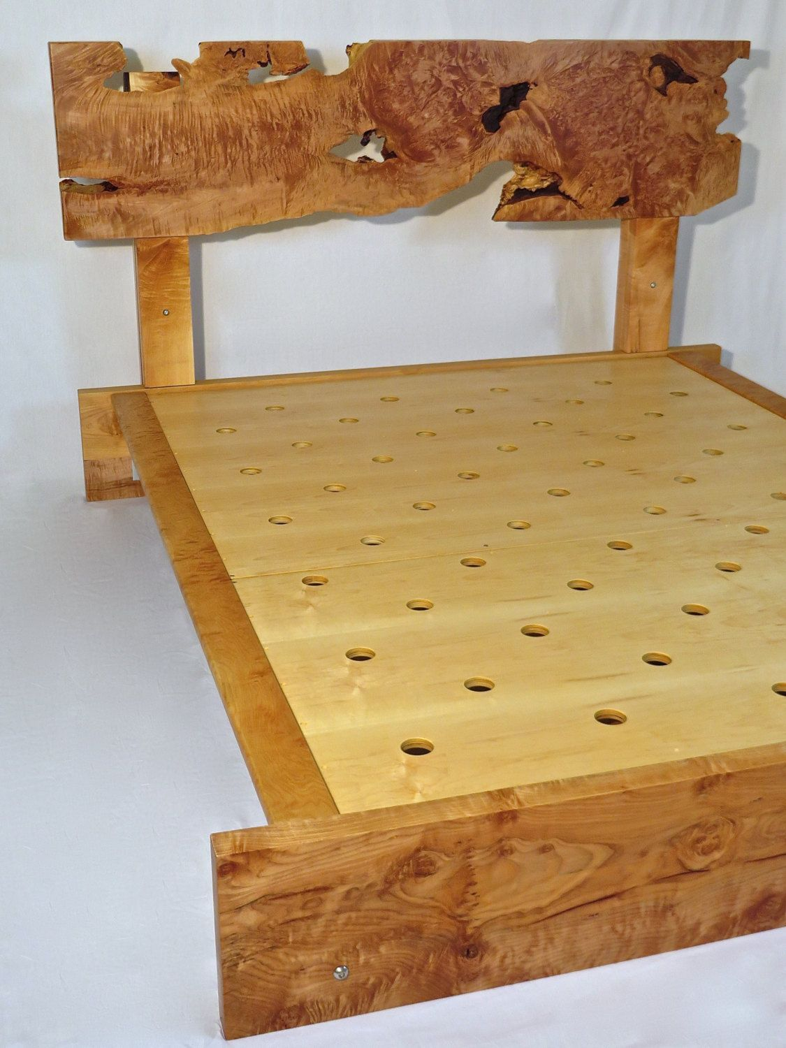 Solid Maple Bedroom Furniture Handcrafted Live Edge Curly Maple Queen Bed Frame With Matching