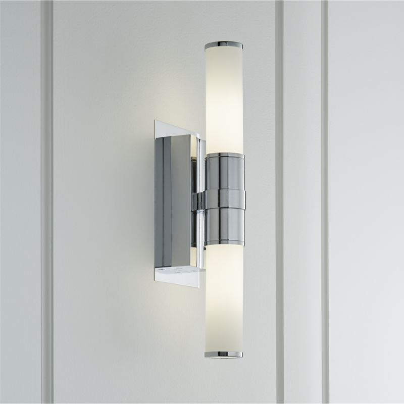 Solina Chrome Tube Sconce + Reviews   Crate and Barrel ... on Decorative Wall Sconces Candle Holders Chrome Nickel id=85151