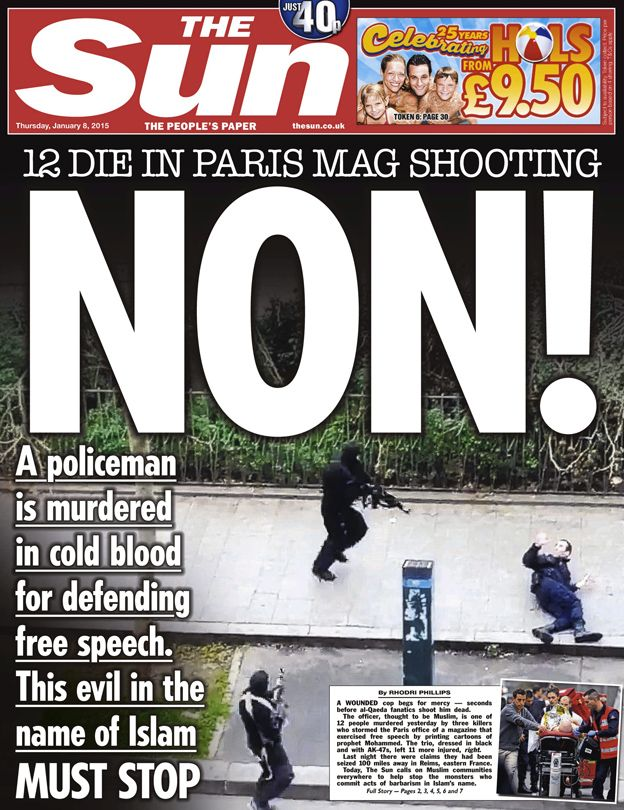 'Attack on freedom' Newspaper front pages, Paris terror
