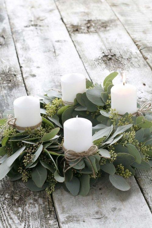 Beautiful Eucalyptus Candle Wreath For A Holiday Table Centerpiece Adventskranz Selber Basteln Weihnachtstischgedecke Kerzen Dekorieren