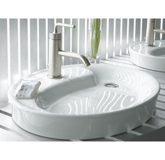 Kohler K 2353 1 0 White Wading Pool Bathroom Sink With Single Faucet Hole From The Yin Yang Collection 153 12
