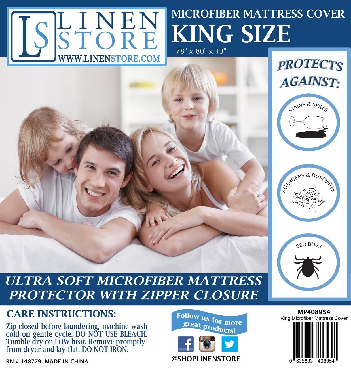 Microfiber Zippered Mattress Cover, Bed Bugs Shield, Dust
