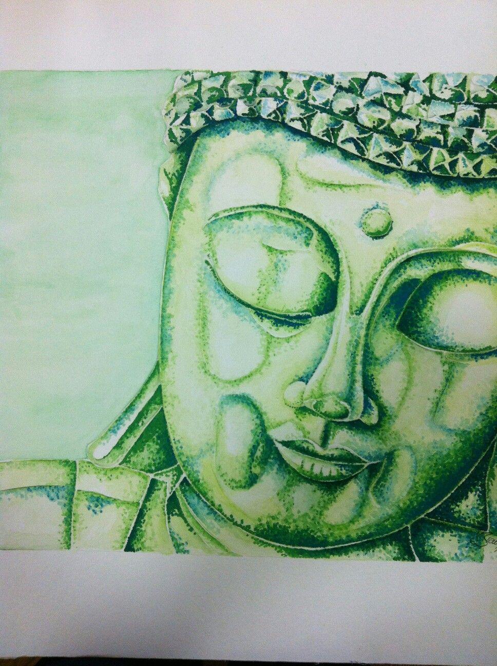 Buddha, Aquarell & Gouache,  50x50cm auf Aquarellpapier...Strahlt Ruhe aus und macht sich in jedem Heim gut.