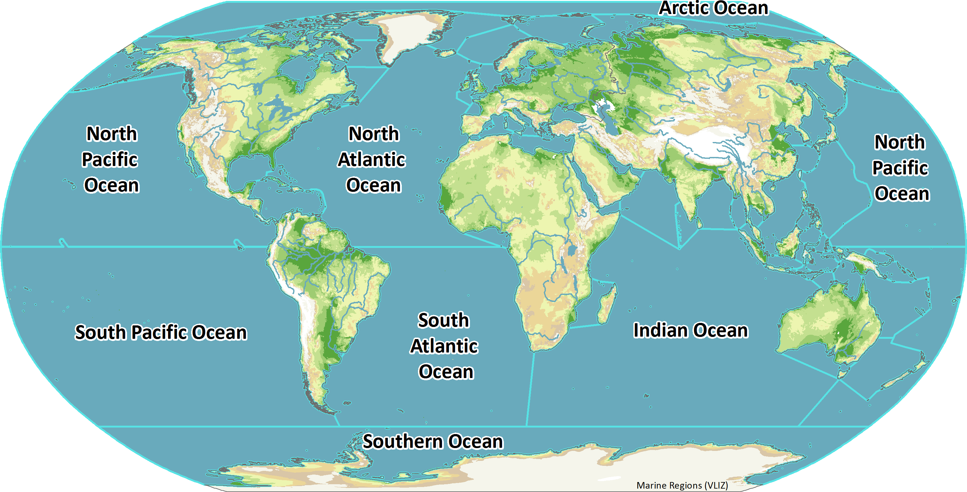Atlantic Ocean On World Map IHO_crop.png (3107×1580) | Ocean and earth, World geography