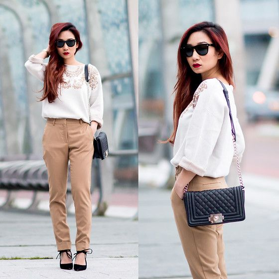 Get this look: http://lb.nu/look/6886018  More looks by Fiveftwo: http://lb.nu/fiveftwo  Items in this look:  Sweater, Mango Trousers, Zara Heels, Ray Ban Sunglasses   #casual #chic #minimal