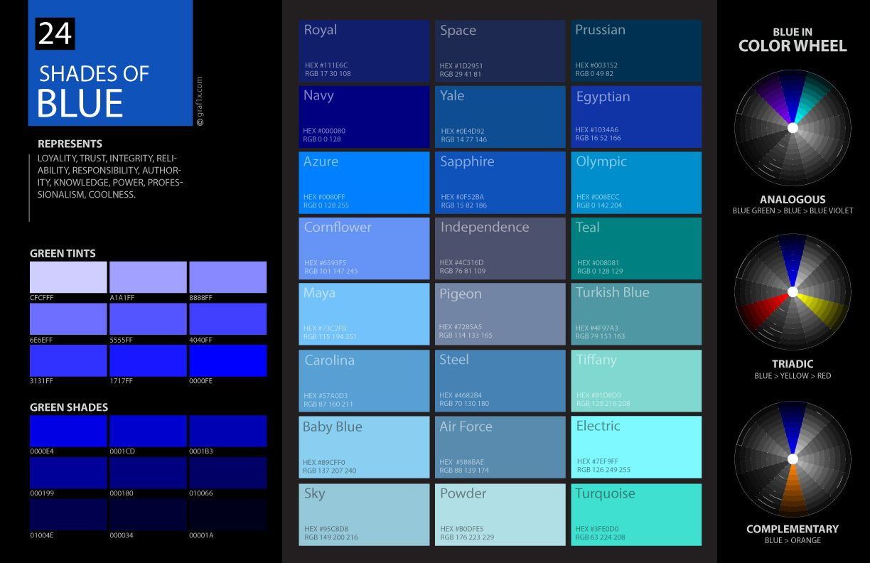 Shades Of Blue Color Palette Chart Code Hex Html Rgb Blue Color