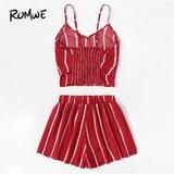 ROMWE Knot Front Striped Cami Top With Straight Shorts Chic Summer Women Two Piece Set Red Sleeveless Spaghetti Strap Sets #stripedcamitops
