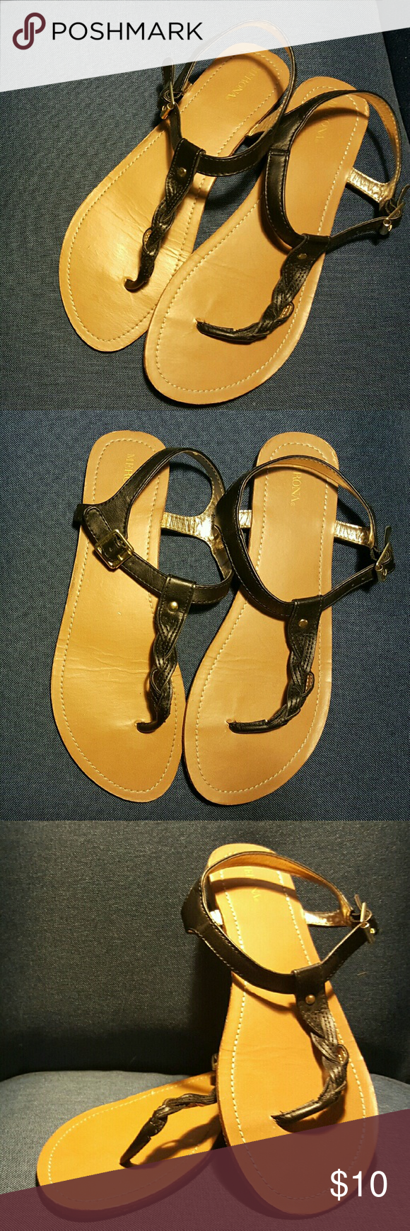 Cute strappy sandals Worn once. Size 11. I usually wear size 10 and they for perfectly. Merona Shoes Sandals