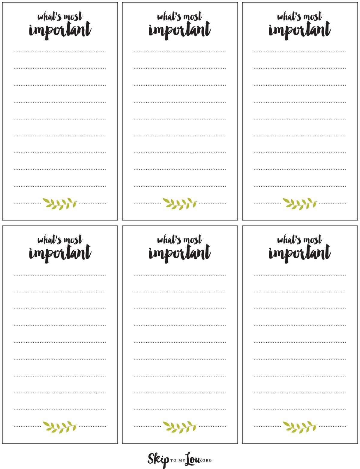 Printable Goal Reminder Cards