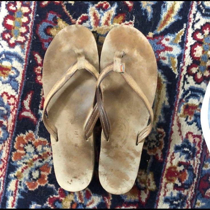 Rainbow Shoes | Rainbow Narrow Strap Flip Flops | Color: Tan | Size: 11