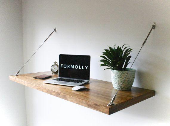 Floating Desk Wall Mounted Desk Walnut By Formollydesks On
