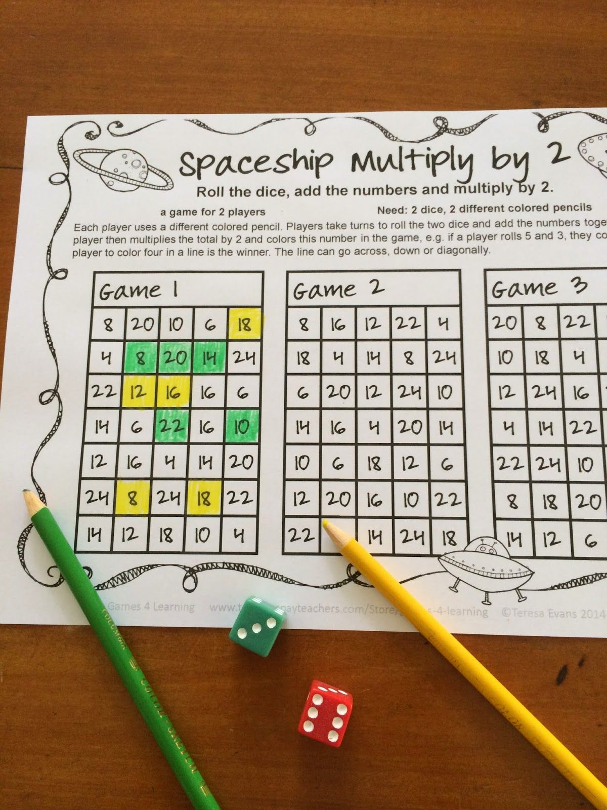 In Spaceship Multiply By 2 The Players Roll 2 Dice Add The Numbers And Multiply The Total By 2