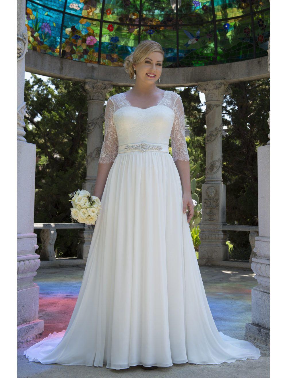 Informal Lace Chiffon Modest Plus Size Wedding Dresses With 3 4 Sleeves 2017 Big Size Wedding Dresses Plus Size Plus Size Wedding Gowns Trendy Wedding Dresses [ 1320 x 1000 Pixel ]