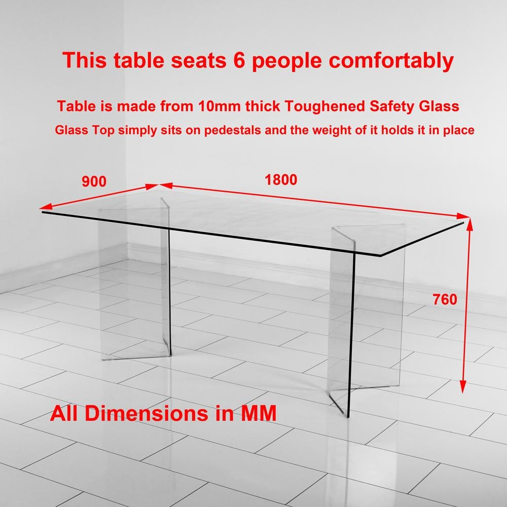 6 chair dining table size geo glass clear rectangle for Dimension table 6 personnes