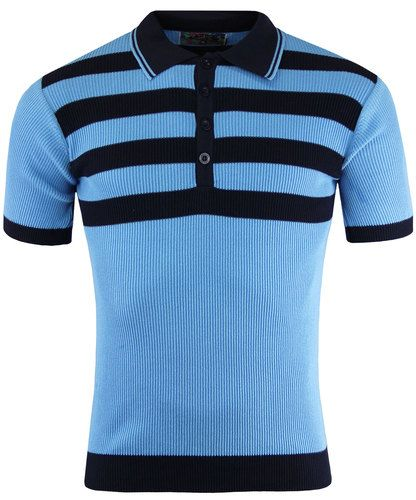 420908a5acb86b Terry Retro 60s Mod Ribbed Polo Shirt With Chest Stripes SKY from Madcap  England